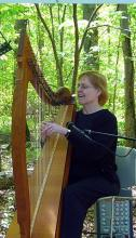 Chris and her Clare Harp at Huntley Meadows